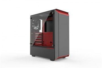 PC Ohišja Phanteks  PHANTEKS ECLIPSE P300 TEMPERED GLASS USB3 ATX črno/rdeče ohišje