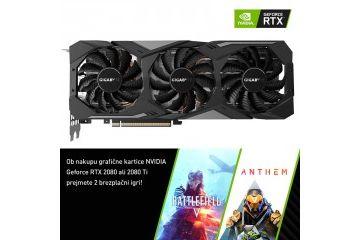 Grafične kartice Gigabyte  GIGABYTE GeForce RTX 2080 WINDFORCE OC 8GB GDDR6 (GV-N2080WF3OC-8GC) grafična kartica
